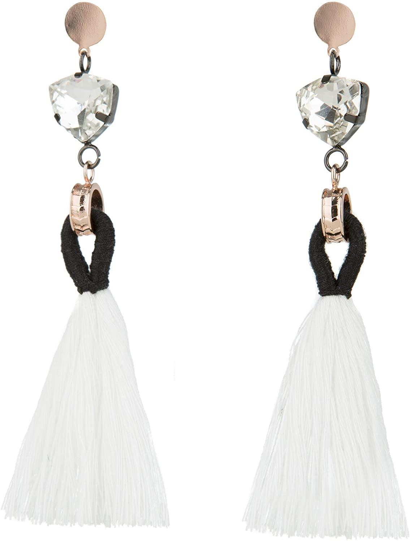 Rose Gold Tassel Earrings: Pink fringe gifts for women. Fashion drop dangle tassle earing by BLUSH & CO. (Angelique)