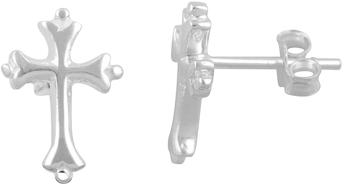 Sterling Silver Traditional Cross Stud Earrings 0.51in
