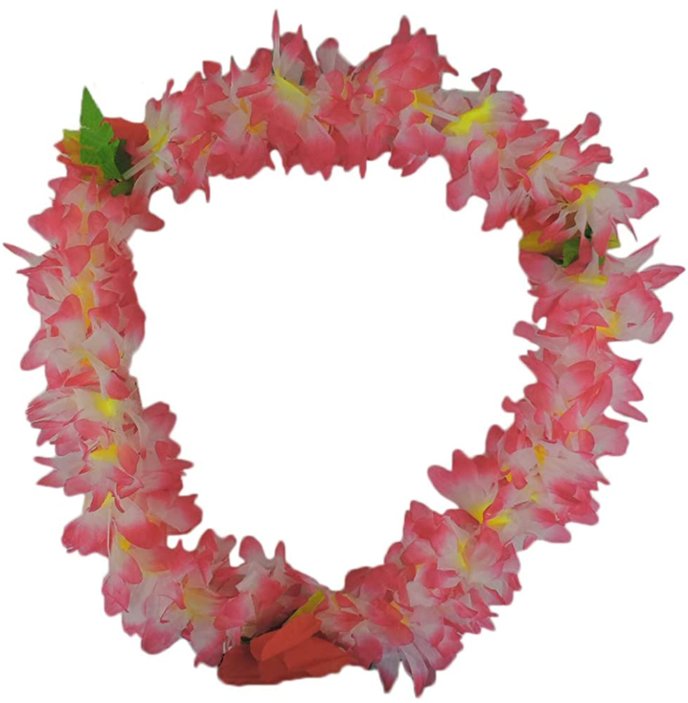 JHats Tropical White & Pink Hawaiian Lei Polynesian Faux Hybiscus Flower Necklace