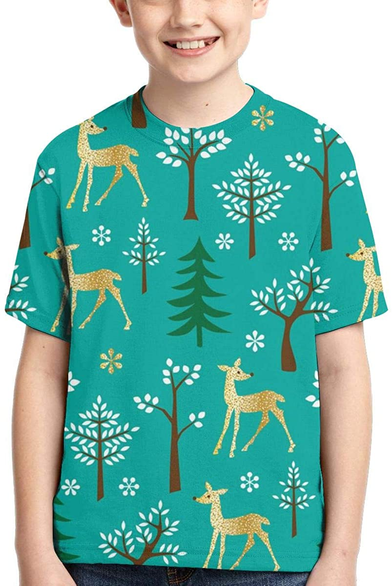 Youth T-Shirts, Forest Deer Full Printed Short Sleeve Crew Neck Tees, Summer Tops for Boys