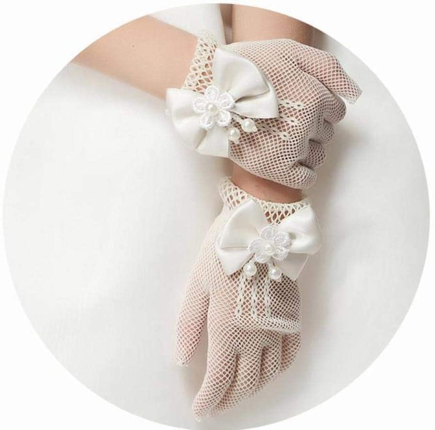 GBSTA White Gloves 1 Pair Girls Kids White Lace Faux Pearl Fishnet Gloves Communion Flower Girl Bride Party Ceremony Accessories,White
