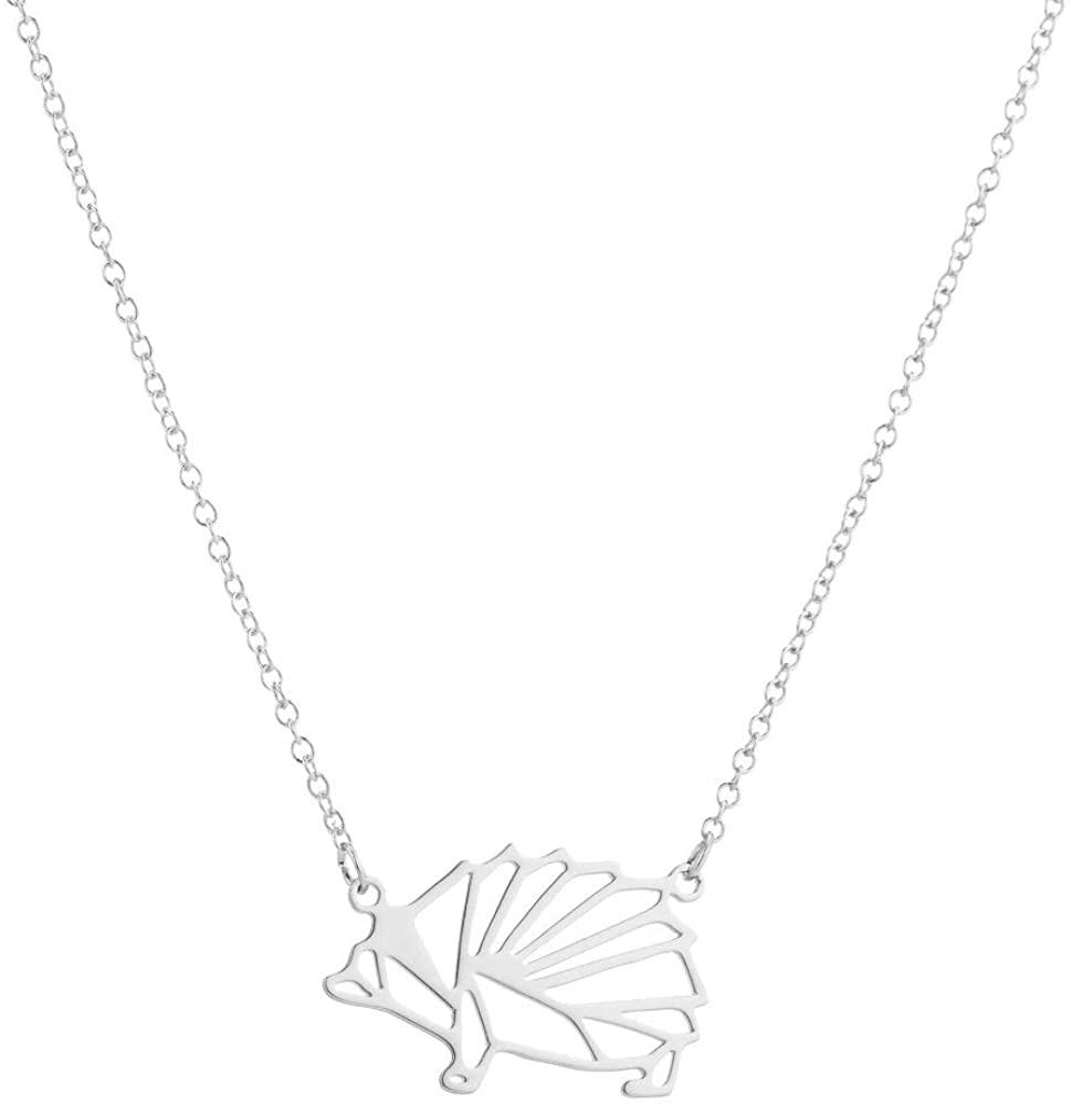 MUYUN Fashion Origami Hedgehog Geometric Necklace Wild Animal Pendant Jewelry Gift