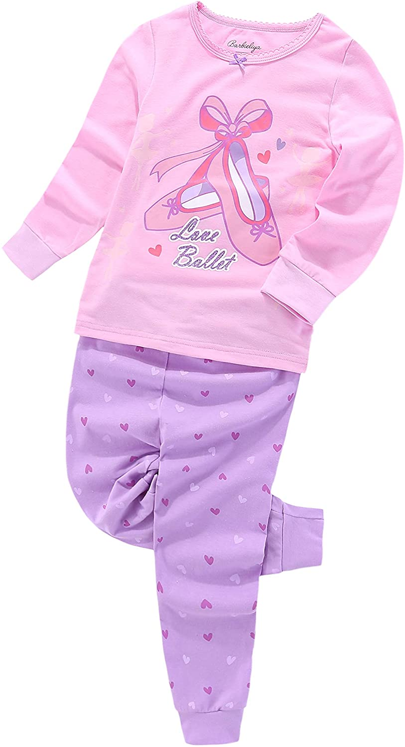Girls Pajamas 2 Pcs Set Soft Cotton Ballet Slippers Glow in The Dark Sizes 3T - 9T