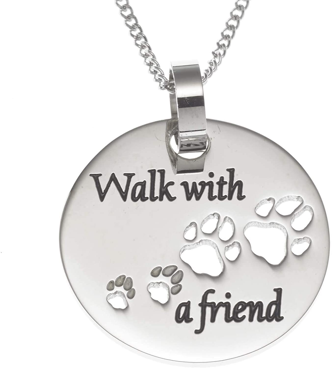 Joyful Sentiments Pet Jewelry Stainless Steel Walk with A Friend Paw Print Pendant With 18 Necklace And 3 Extender
