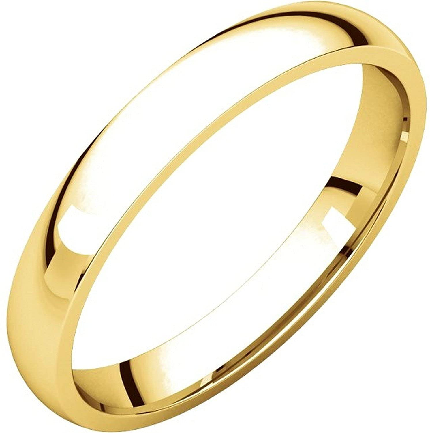 Men's and Women's 18k Yellow Gold, 3mm Wide, Comfort Fit, Plain Wedding Band