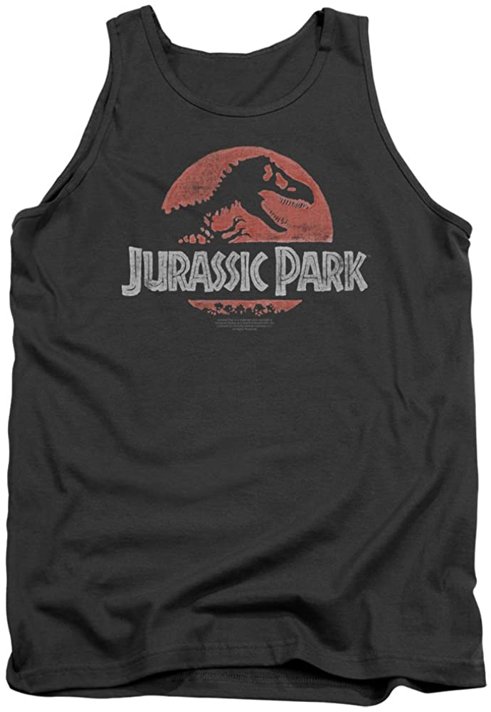 Jurassic Park Faded Logo Officially Licensed Adult Tank Top Charcoal