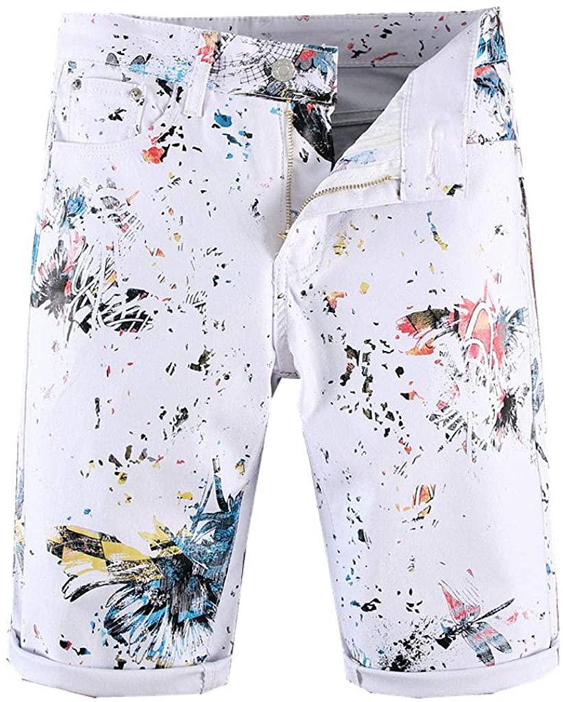 Hunauoo Mens Pattern Printing Shorts Personality Slim Fit Denim Jeans Zipper Flat Front Shorts