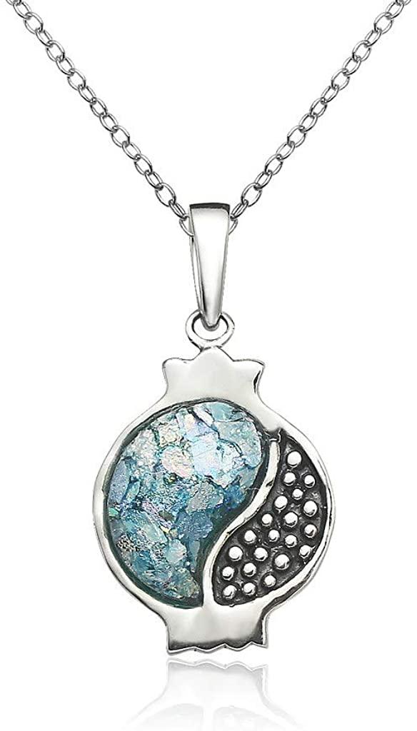 SolidSilver - Sterling Silver Genuine Ancient Roman Glass Pomegranate Shape Pendant Necklace.