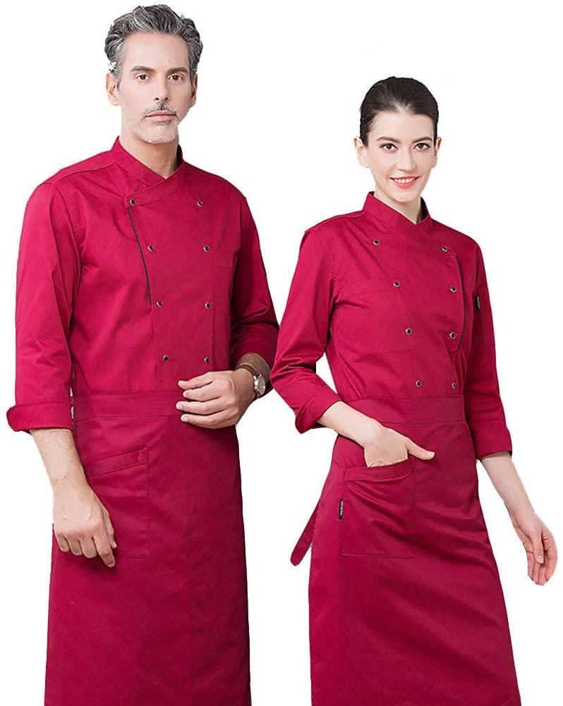 WYYSYNXB Unisex Chef Jackets Uniform Long Sleeve Shirt Hotel Restaurant Kitchen Uniforms,Red,M