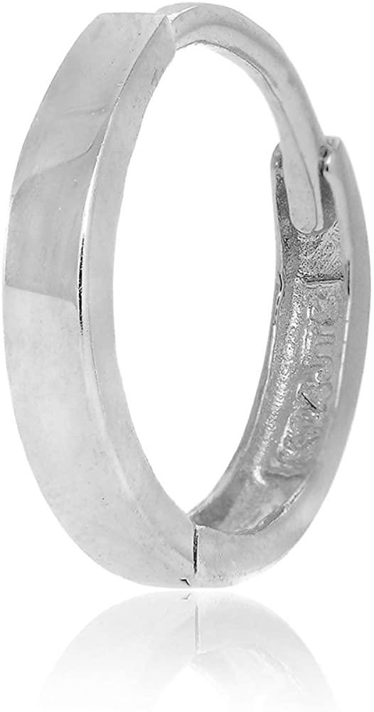 14k White Gold Single Huggie Hoop Men's Hinged Earring - 2.6x14mm