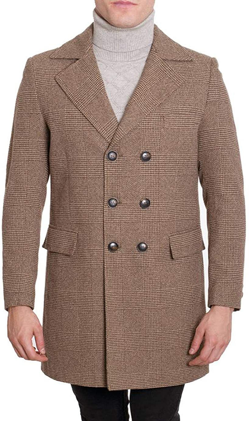 DeNiko Men's Light Brown Wool Blend Double Breasted 3/4 Length Overcoat MW5264