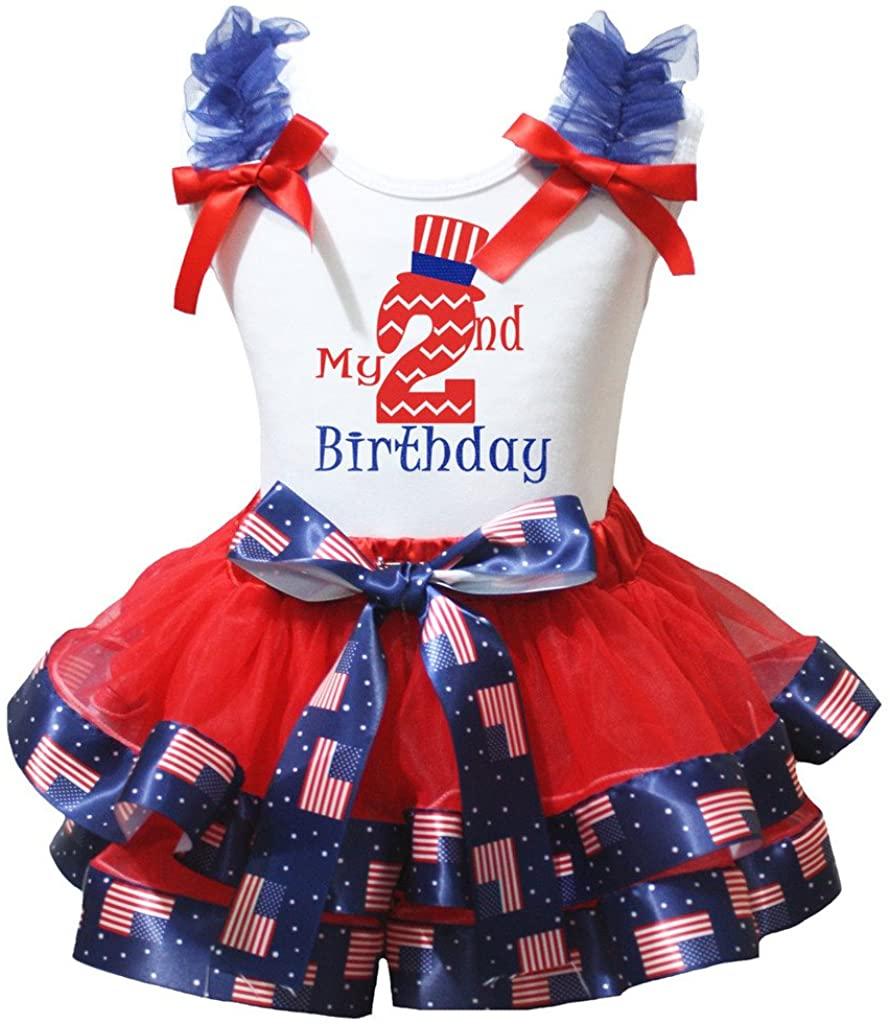Petitebella My 1st to 6th Birthday White Shirt Red Flags Petal Skirt Set Nb-8y
