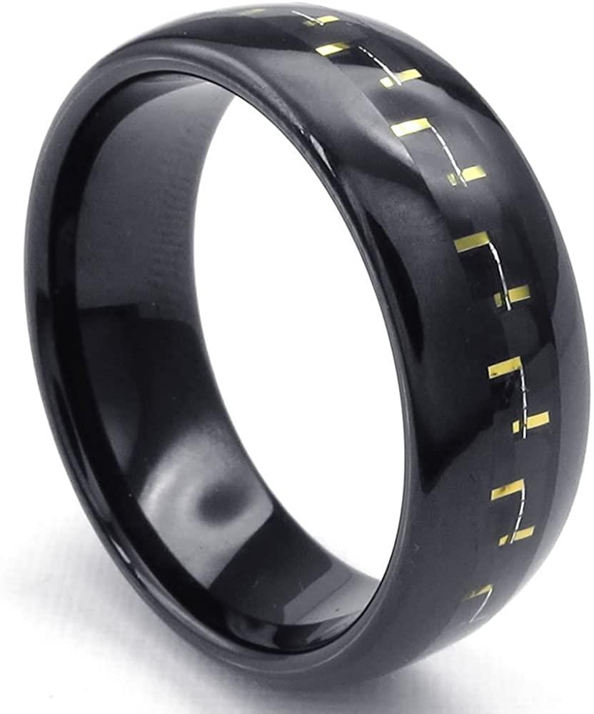 KONOV Mens Carbon Fiber Tungsten Ring, Classic Wedding Band, Black