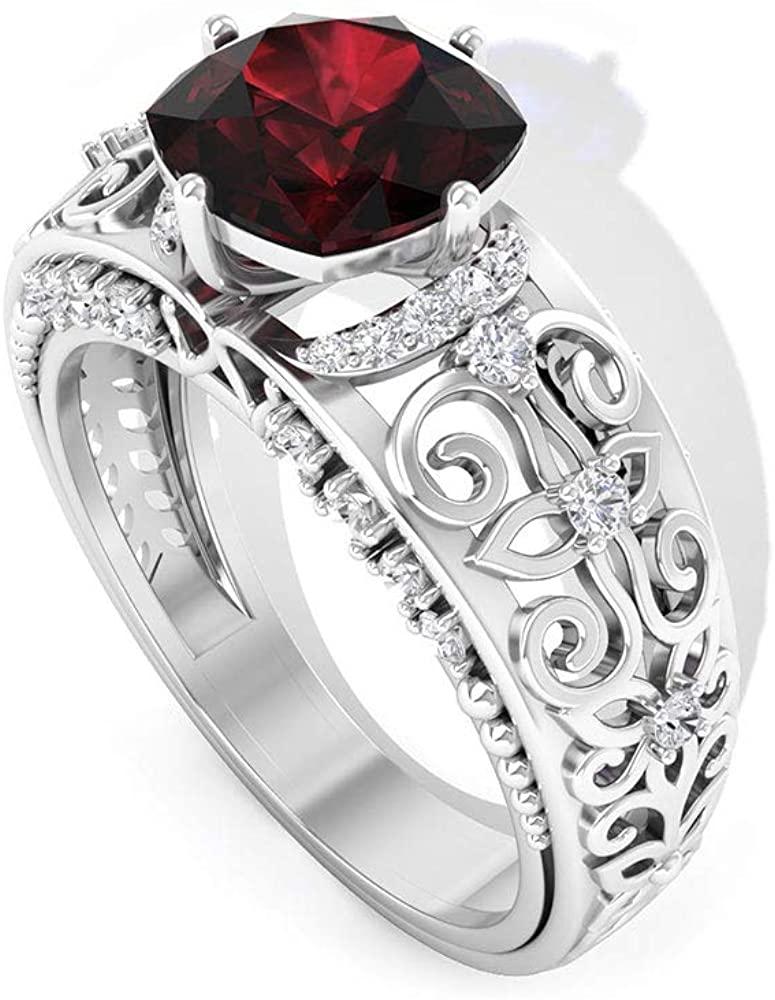 2.1 Ct Solitaire Garnet Engagement Ring, 0.33 Ct IGI Certified Diamond IJ-SI Wedding Ring, Bridal Statement Ring, Cushion Shape Birthstone Ring