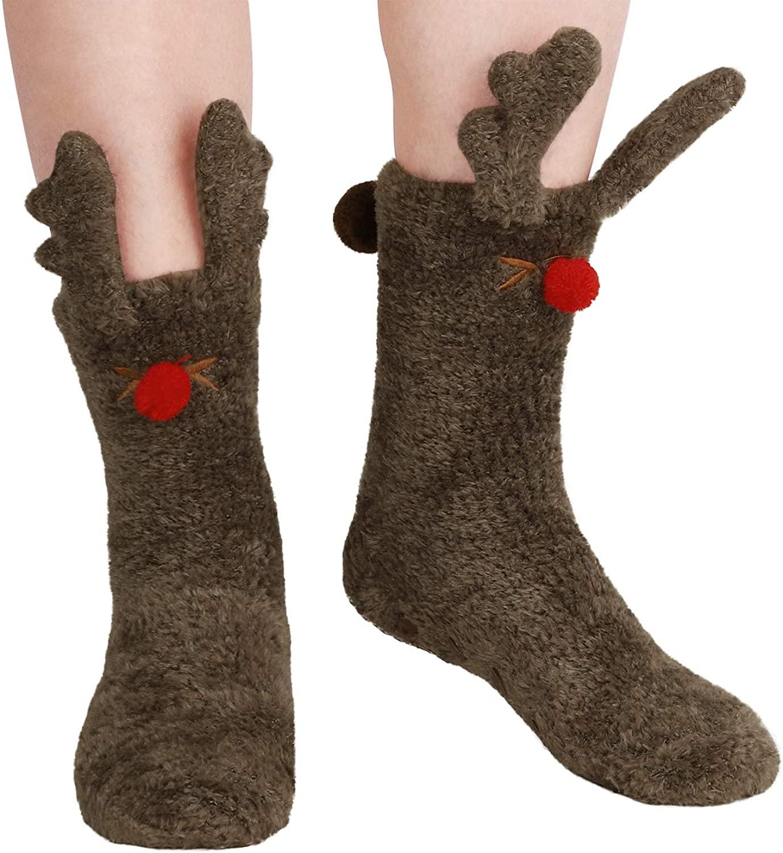 Women Girl Cute Winter Warm Slipper Socks Fuzzy Soft Home Floor Sleeping Socks