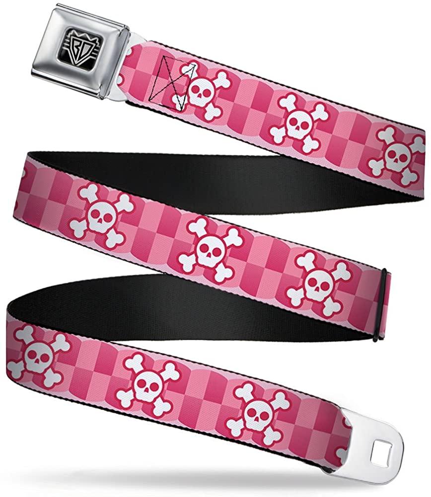 Buckle-Down Seatbelt Belt - Cute Skulls w/Checkers Pinks/White - 1.0