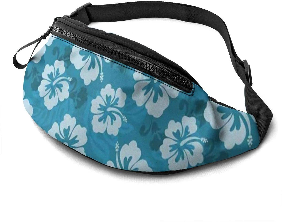 Hawaiian Hibiscus Flowers Fanny Pack for Men Women Waist Pack Bag with Headphone Jack and Zipper Pockets Adjustable Straps
