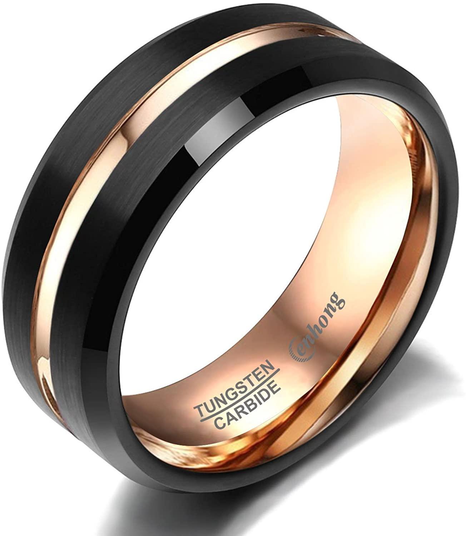 enhong Mens Tungsten Carbide Rings 8mm Black Matte Finish Weding Band 18K Rose Gold Plated Beveled Edge Wedding Ring