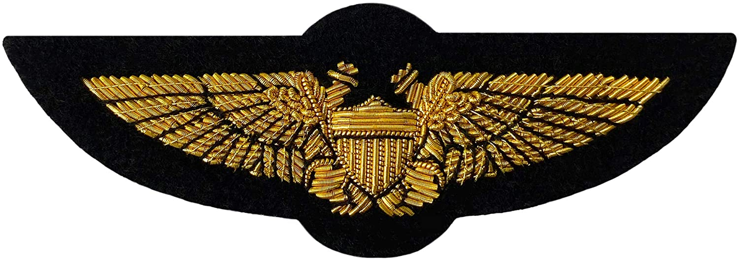 Navy NFO Wings of Gold, 100% Handmade Metal Thread Bullion Wire, Naval Flight Officer/Marine Aviation Insignia; for Blazer, Military Shadow Box, Patches, USN USMC Uniform Emblem, Farewell Plaque