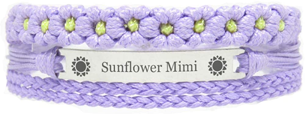 Miiras Family Engraved Handmade Bracelet - Sunflower Mimi - Purple FL - Made of Braided Rope and Stainless Steel - Gift for Mimi