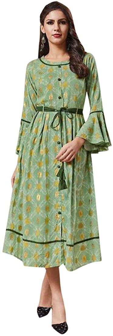 Green Designer Evening Formal Party wear Printed Rayon Kurti Midi style Indian Women dress Readymade 44 size 8746