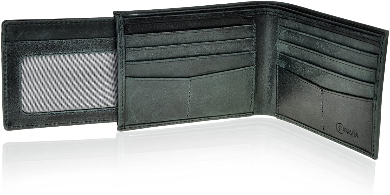 Pavia Mens Leather Bi-fold Slim Wallet RFID with Pull Out For Additional Cards