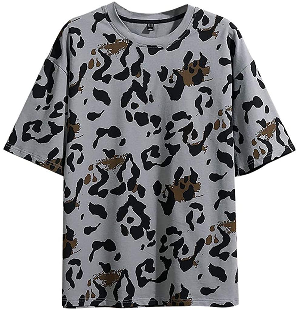 Litetao Men's Summer Casual Camouflage Gradient Tee Slim Fit O-Neck Top Short Sleeve T Shirt Top Blouse