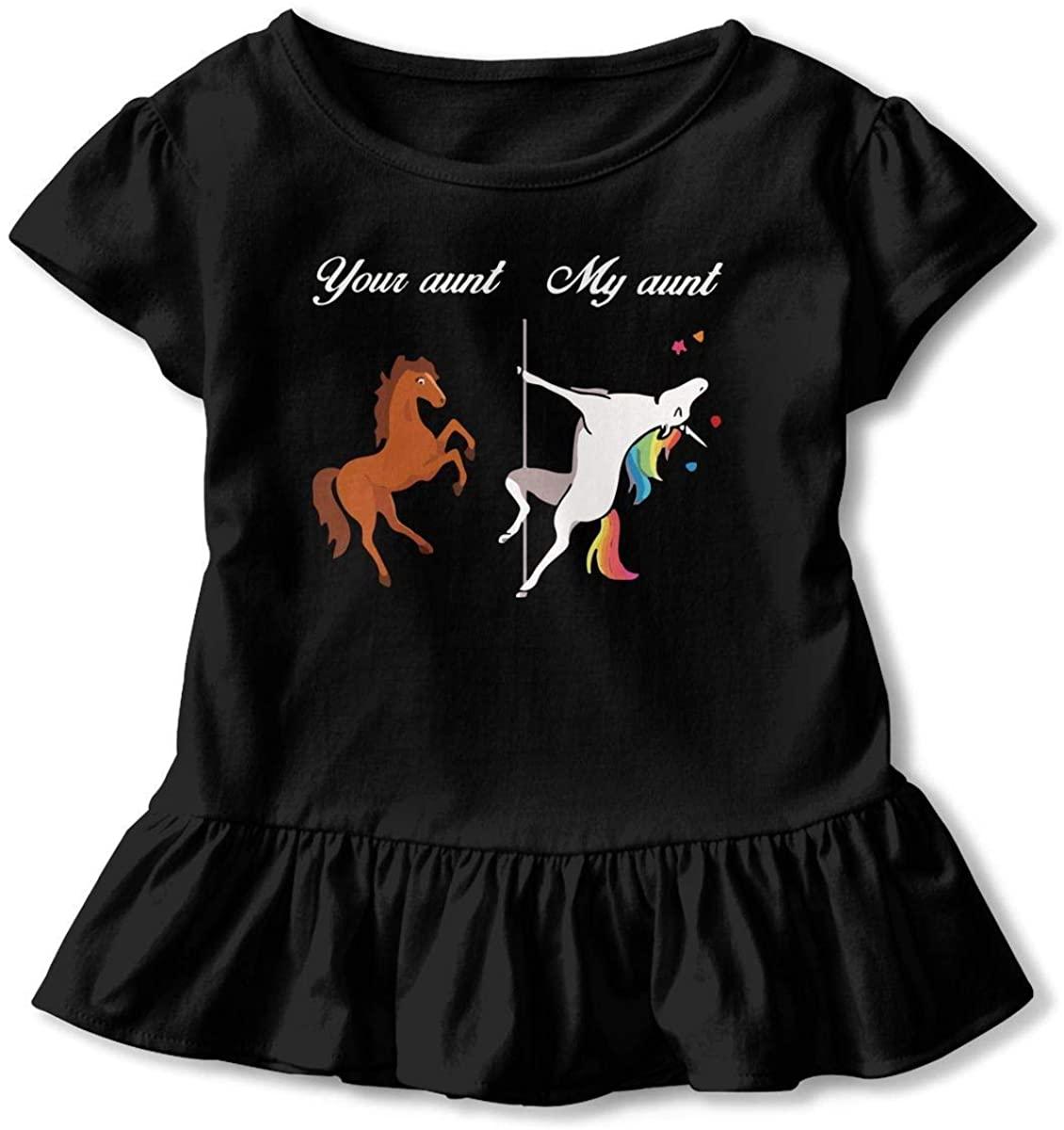 SDHEIJKY Unicorn Your Aunt My Aunt Funny Toddler Baby Girls' Short Sleeve Ruffle T-Shirt
