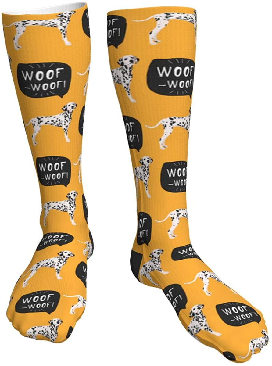 Unisex Casual Socks, Dog Dalmatian Colorful Hand Drawn Woof Woof Athletic Socks Compression Crew Socks 50cm Long Socks