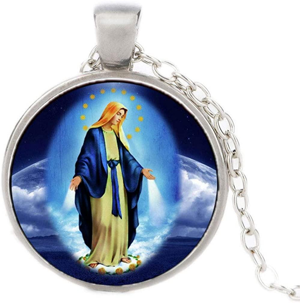 FOY-MALL Fashion Time Gem Christian Virgin Pendant Chain Necklace XL1558N