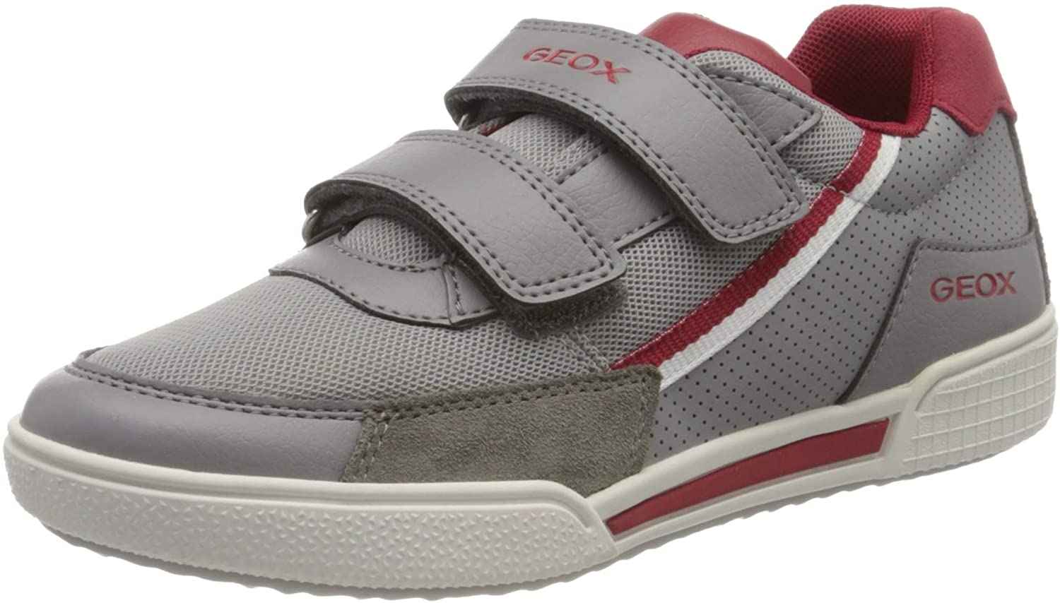 Geox J Poseido Boy Trainers Boys Grey/Red Low Top Trainers Shoes