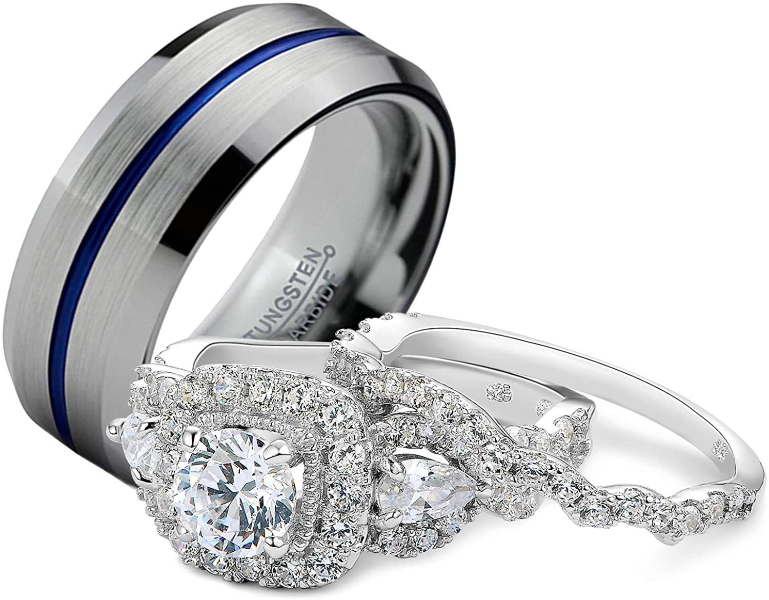 Newshe Wedding Rings Set for Him and Her Women Men Tungsten Bands Sterling Silver Blue Line Cz 5-13