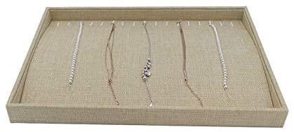 Polmart T23Y Natural Linen Center Raised Bracelet Tray, Hay Yellow
