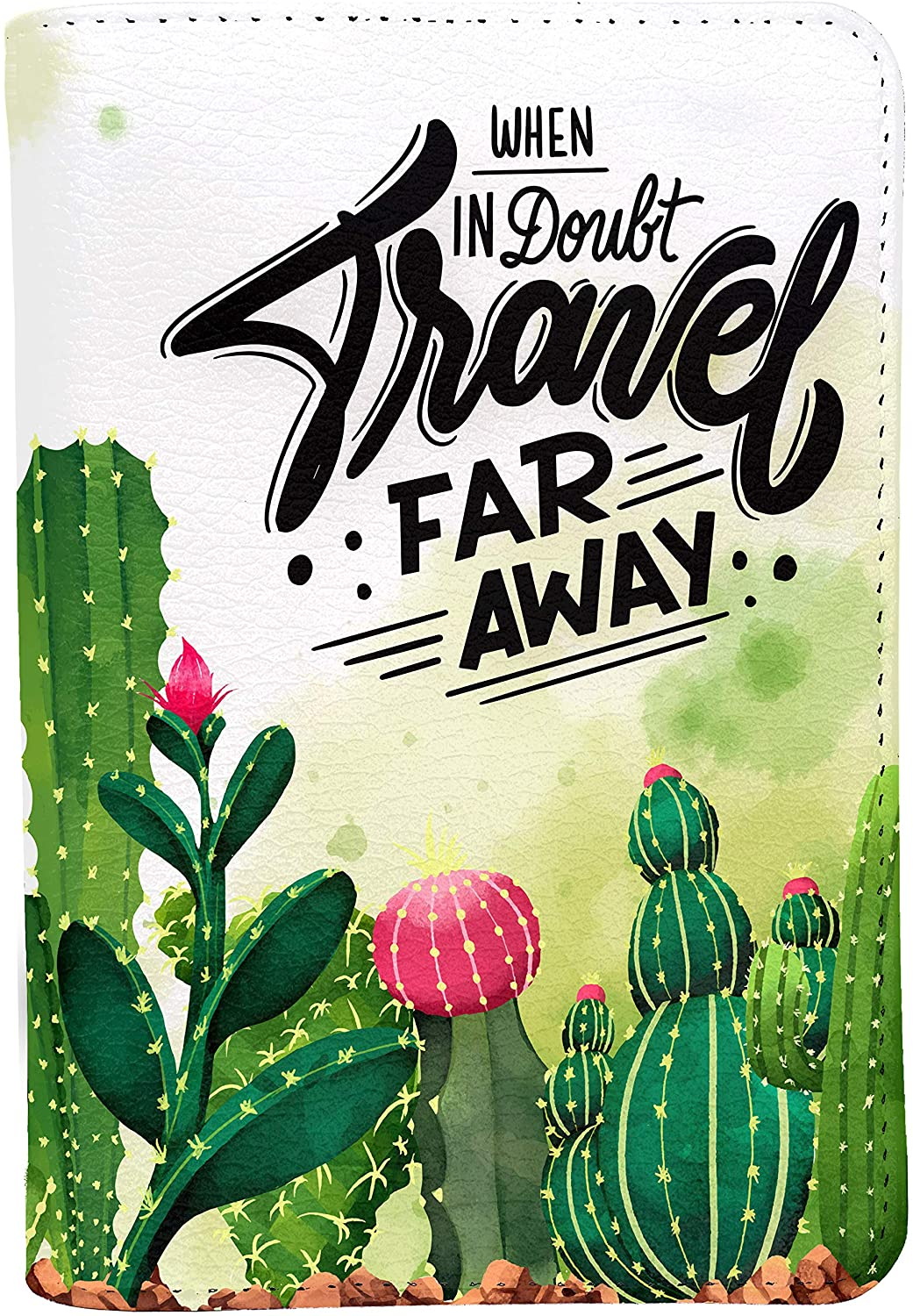 Cactus Travel Far Away Personalized Leather RFID Passport Holder Cover - Travel Wallet