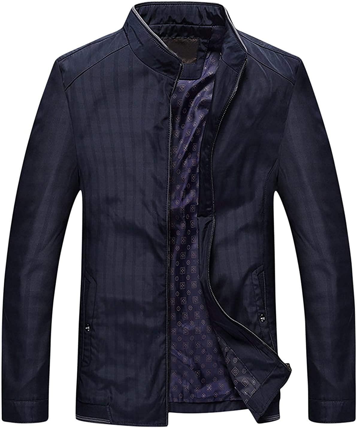 Xudcufyhu Men's Lightweight Stand Collar Front Zipper Outerwear Jacket Coats