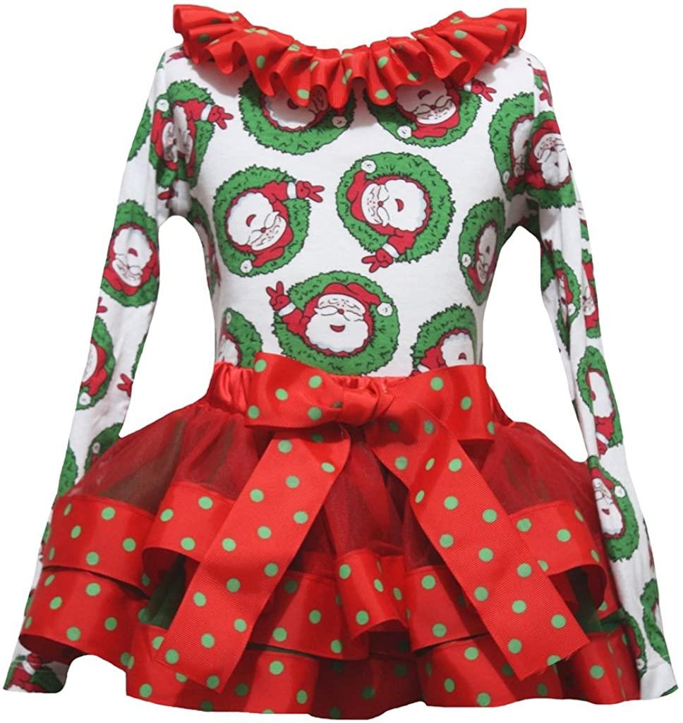 Petitebella Santa Claus L/s Shirt Red Ribbon Petal Skirt Xmas Set Nb-8y