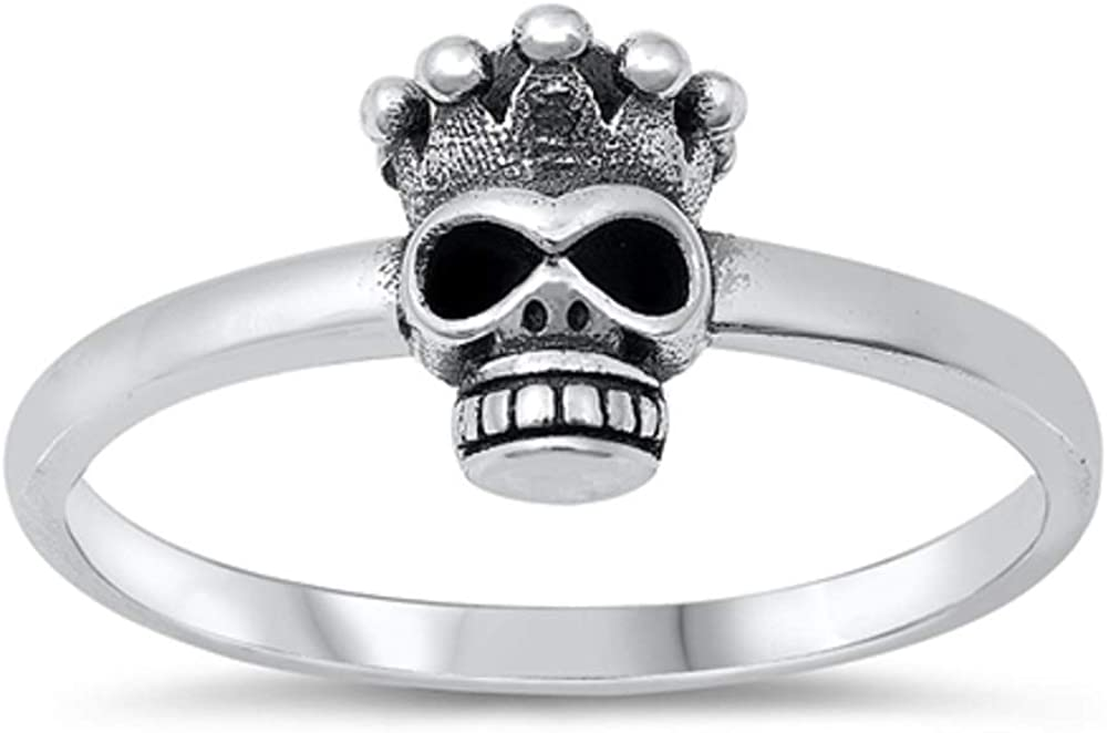 CloseoutWarehouse Oxidized 925 Sterling Silver Skull King Ring
