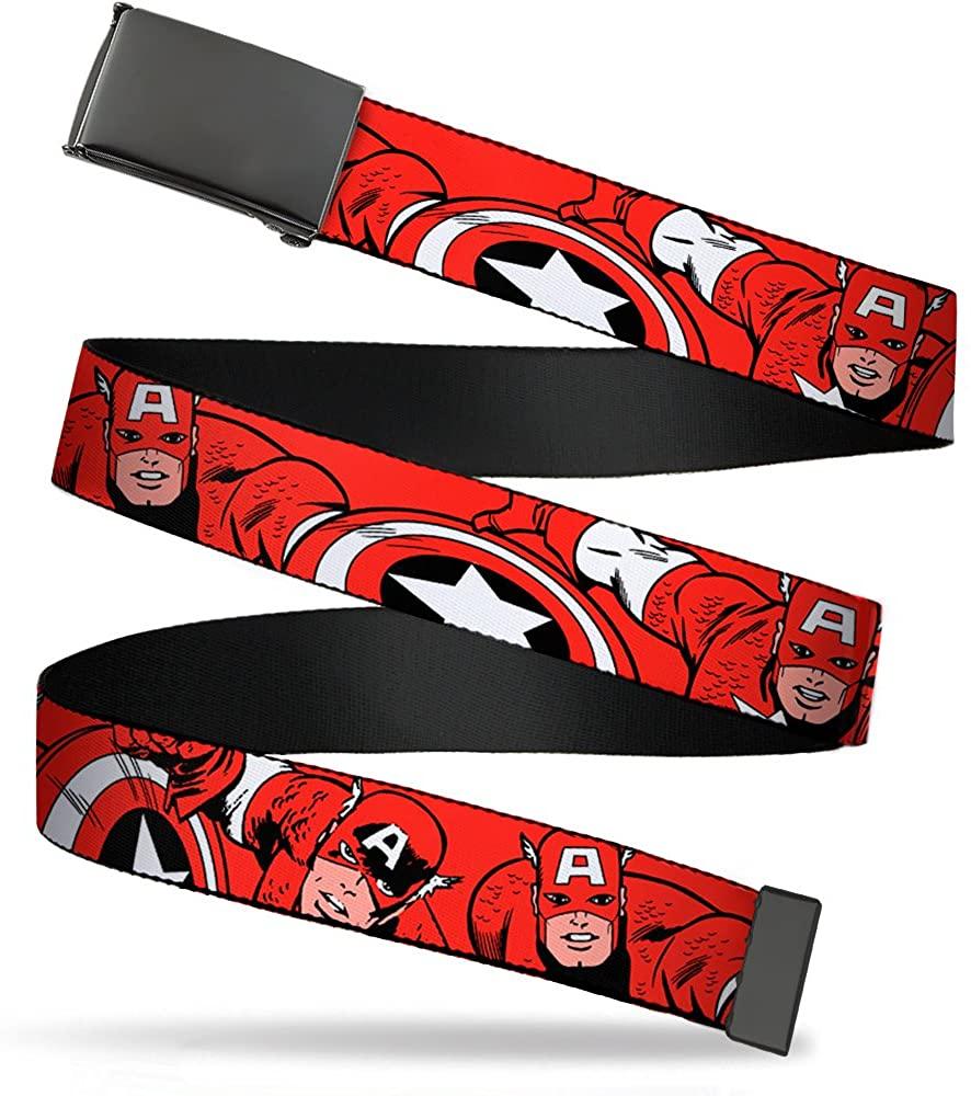 Buckle-Down Men's Web Belt Captain America, Multicolor, 1.25