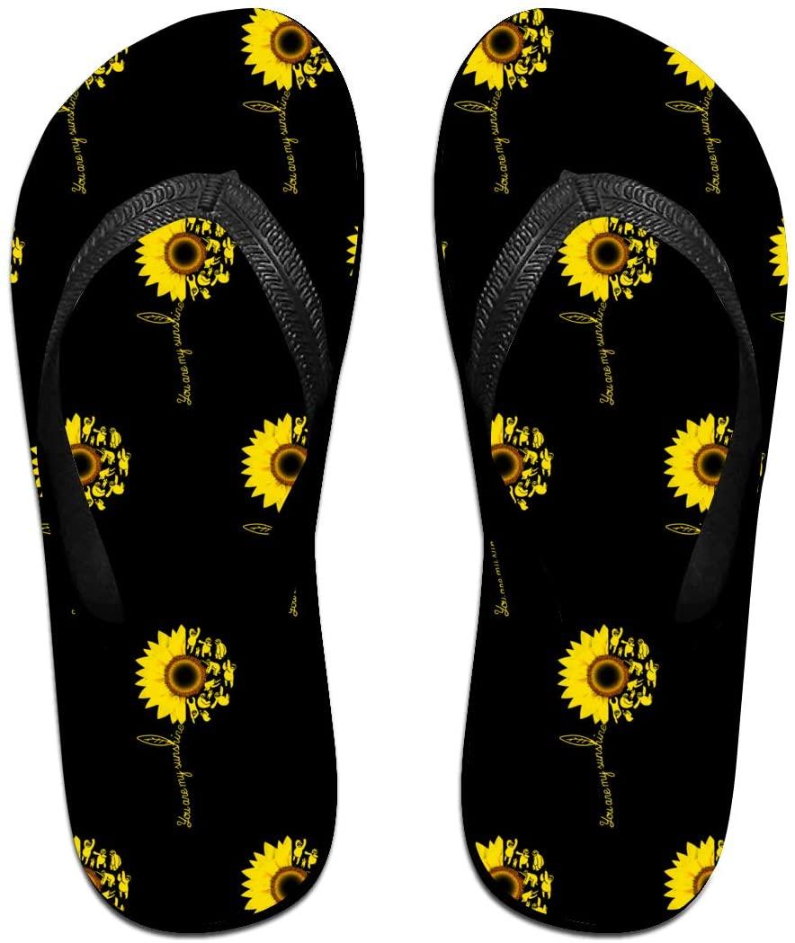 WAY.MAY Sunshine Sunflower Sloth Unisex Flip Flops Slippers Open Toe Beach Sandal