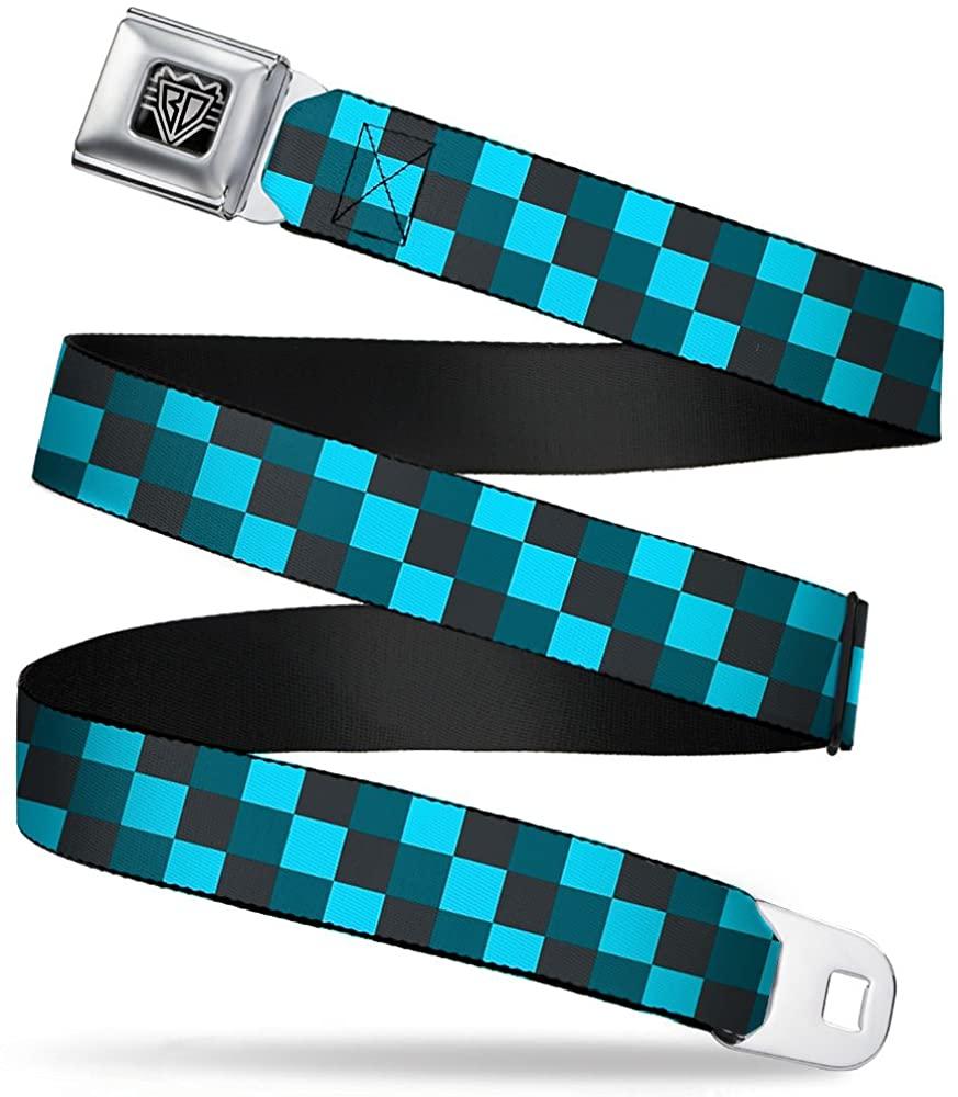 Buckle-Down Seatbelt Belt - Checker Trio Baby Blue/Black/Turquoise - 1.0