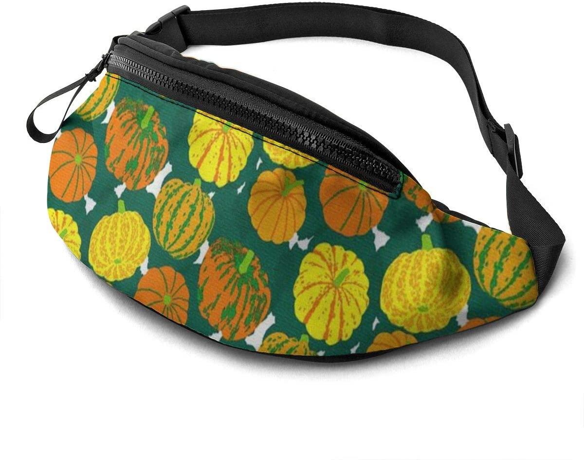 Pumpkin Pattern Halloween Fanny Pack For Men Women Waist Pack Bag With Headphone Jack And Zipper Pockets Adjustable Straps