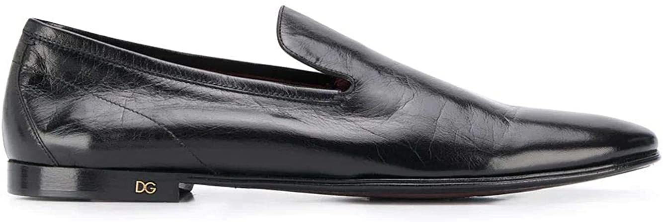 Dolce e Gabbana Luxury Fashion Man A50352AX19980999 Black Leather Loafers | Spring Summer 20