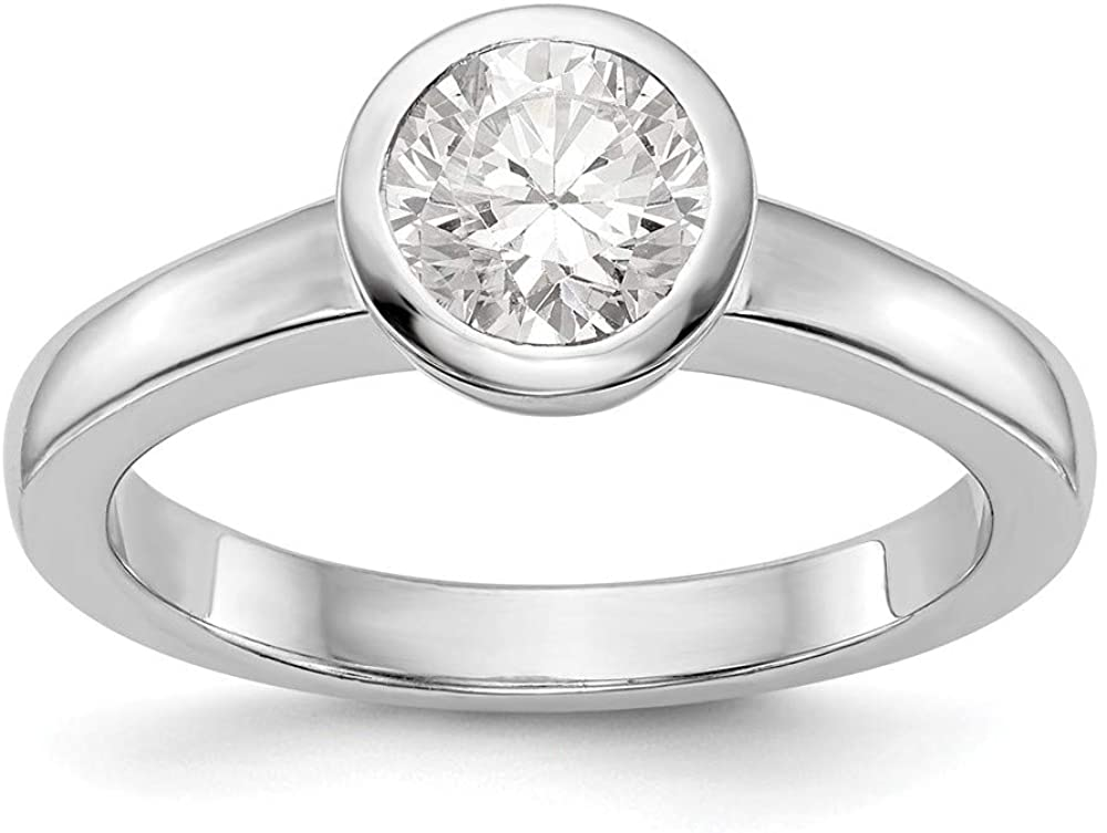 14K White Gold mounting Ring Band Only Round Bezel Solitaire Engagement, Size 5
