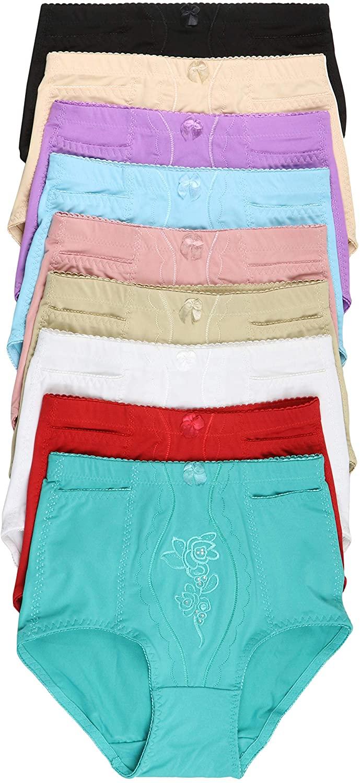 ToBeInStyle Womens 6 Pack High Waist Concealed Slit Pockets Elegant Print Girdle Briefs
