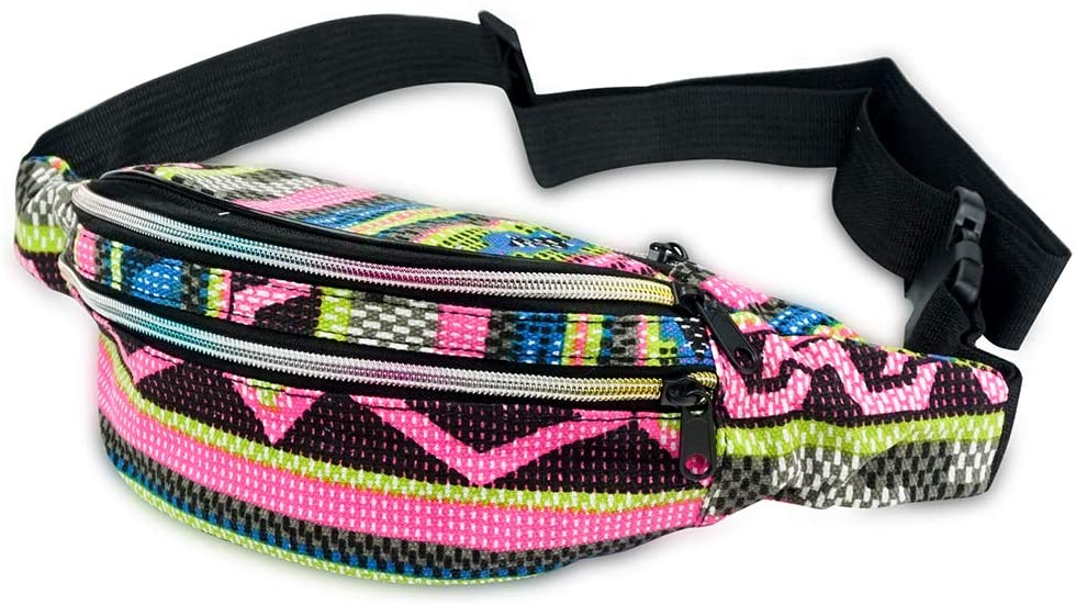 Face1st 3 Zippered Bohemian Fanny Pack Multi Printed Stripe Patterns Festival Bum Bags Lightweight Retro Travel Hiking Waist Bag