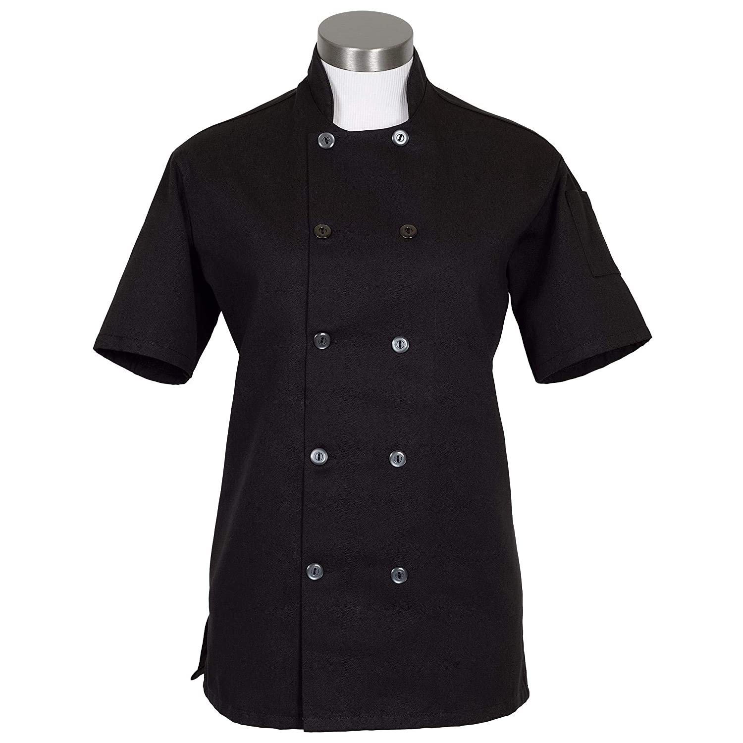 Fame Fabrics 83206 C100PS Short Sleeves, 10 Buttons Chef Coat, Women's Fit, Black, SM
