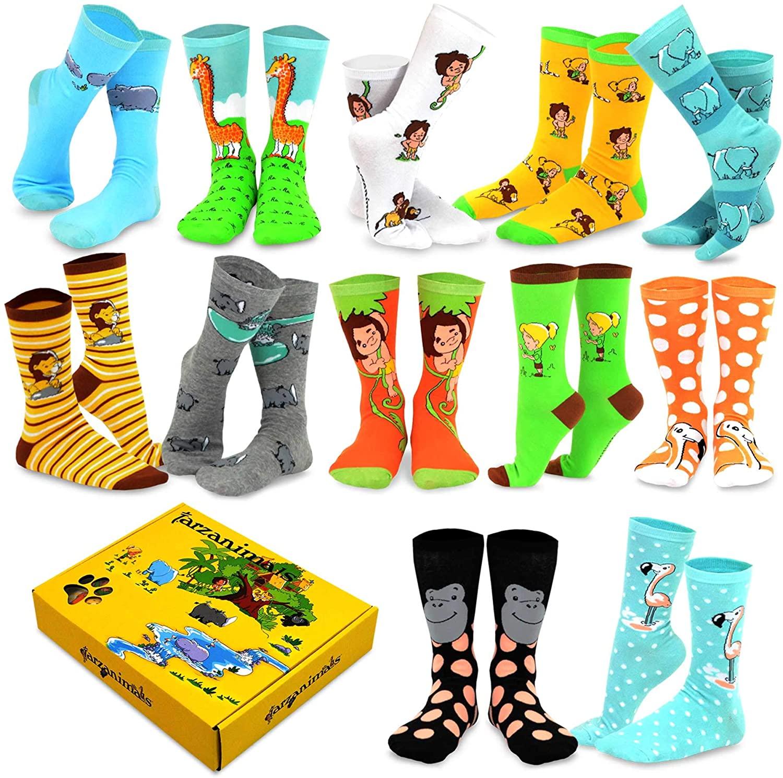 DoodleUS Womens' Fun Novelty Crew and Knee High Socks Gift Box