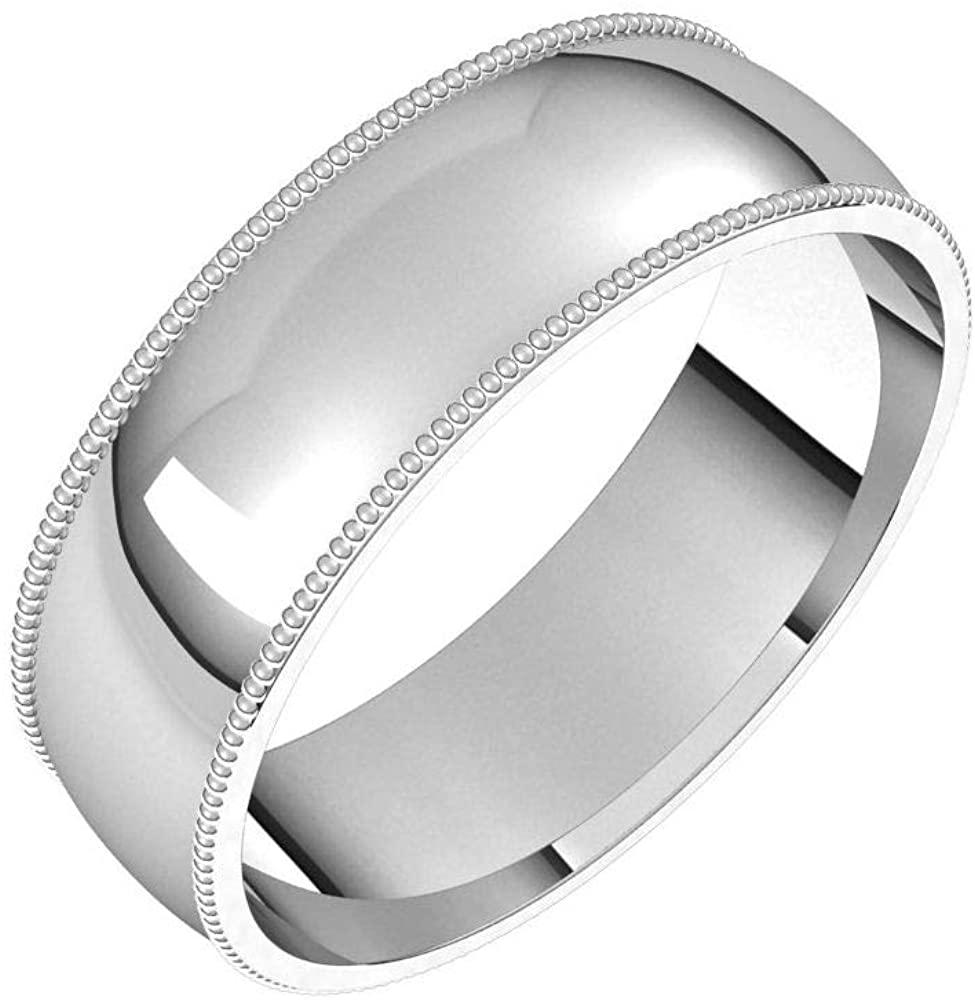 Solid Palladium 6mm Milgrain Half Round Comfort Fit Wedding Band Size 8