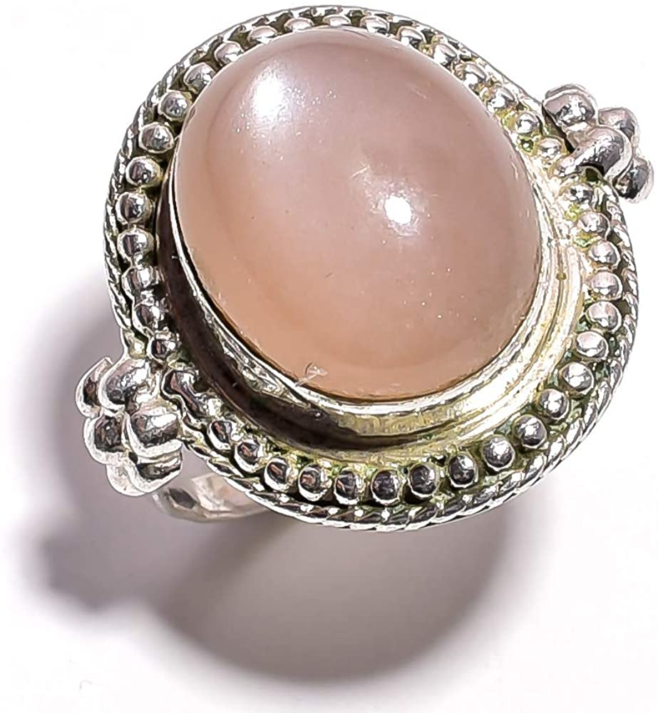 mughal gems & jewellery 925 Sterling Silver Ring Natural Peach Moonstone Gemstone Fine Jewelry Ring (Size 6.25 U.S)