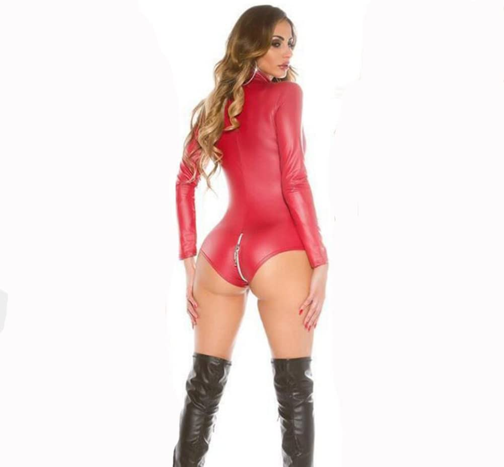 SHANGXIAN Women Erotic Lingerie Latex Catsuit Faux Leather Bobydoll Sexy Costumes Long Sleeve Zip Detail Jumpsuit,Red,XXXL